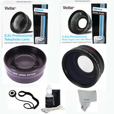 58MM 2x Telephoto +WIDE ANGLE + MACRO + CLEANING KIT FOR CANON EOS REBEL T5 T5i