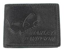 Harley-Davidson Men's Skull Graphite Leather Billfold w/ Flip Out UN4627L-GRYBLK