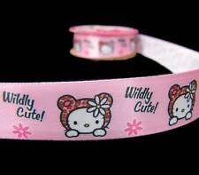 "3 Yds Hello Kitty Wildy Cute Offray Satin Ribbon 7/8""W"
