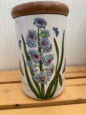 "Portmeirion Botanic Garden 7"" Canister W/Lid & Seal Eastern Hyacinthus Hyacinth"