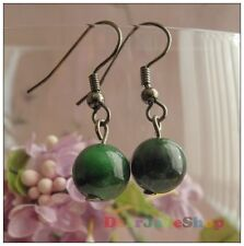 DearJade handmade Jewels Taiwan green jade earrings diameter 8mm