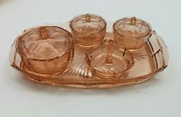 Czech Glass Dressing Table Vanity Set Pink Art Deco