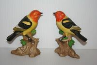 Lot 2 Western Tanager Bird on Tree Stump Figurine Hand Painted Bisque Porcelain