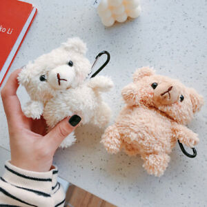 Cute 3D Teddy Bear Plush Fluffy Earphone Cover Skin For Apple AirPods 1 2 Case
