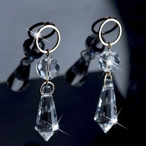 18k yellow gold gf made with SWAROVSKI crystal drop dangle earrings sparkling