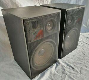 JVC Retro Looking Bookshelf Speaker System Model S-E22B 8 Ohms