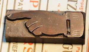 POINTING HAND letterpress wooden printing block very rare wood printer character