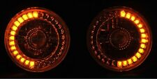 "5-3/4"" Amber LED Angel Eye Motorcycle Halo Projector Headlight Turn Signal Light"