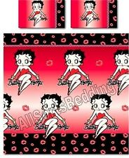 BETTY BOOP KISSES / LIPS RED / BLACK DOUBLE BED SIZE DUVET BED SET