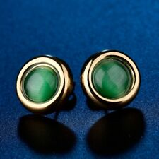 Smart Women Green Emerald Moonstone Gemstone Crystal Gold Steel Stud Earrings