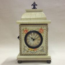 Vintage-Style Hand Painted Mantel Clock with Analog Quartz Movement