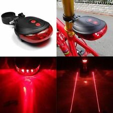 5 LED 2 Laser Bicycle Cycle Bike Red Beam Rear Light Back Tail Flash Lamp Light