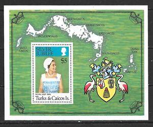 1977 Turks & Caicos miniature sheet 25th anniv. Regency Queen Elizabeth II UMM