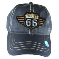 Route 66 Men's Hat - Embroidered,Adjustable Strap-back Baseball Style Cap- GREY