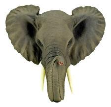 "Safari African Bush Elephant Wall Bust Sculpture ~9""Tall Majestic Noble Elephant"