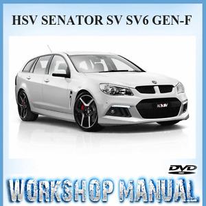 HSV (HOLDEN SPECIAL VEHICLE) SENATOR SV SV6 GEN-F 2013-15 WORKSHOP MANUAL ~ DVD