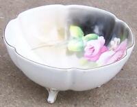 Vintage Noritake China Three Footed Bowl with Pink Roses