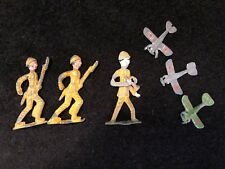 Vintage Painted Tin Metal Army Men Toy Soldiers Action Figures War Planes Japan