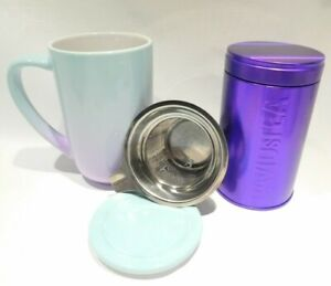 Davids Tea Electric Grape Gradient Nordic Mug With Purple Iridescent Tin
