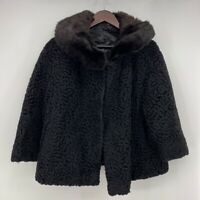 Fur Jacket Womens Black Open Front Car Coat Lambs Wool Union Made USA Vintage L