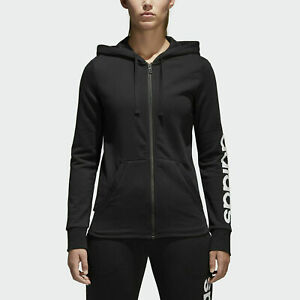 Adidas Womens Sweater Essentials Full-Zip Up Ribbed Hoodie Sweatshirt Black XS