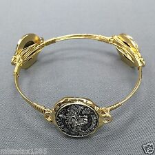 Gold Antique Wire Wrapped Silver Finish Hammered Coin Design Bangle Bracelet