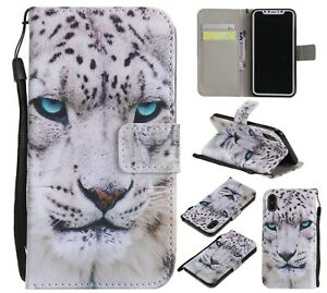 White Leopard Cool Animal Flip Card Wallet Bracket Case Cover For Various Phone