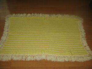 vintage hand crocheted small yellow and white afghan unused