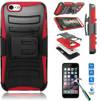 For iPhone X 7 8 Plus Shockproof Holster Belt Clip Stand Armor Hybrid Case Cover