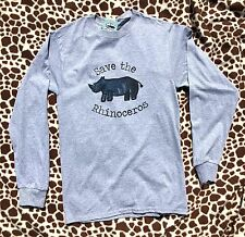 Endangered Animals / Species, Save the Rhinoceros Long Sleeve T-shirt Ad. Medium