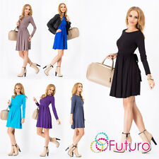 Women's Skater Dress With Belt Boat Neck Long Sleeve Tunic Party Sizes 8-18 8999