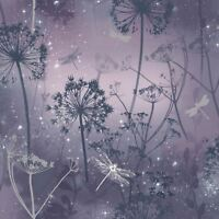 Arthouse Damselfly Glitter 10m Wallpaper Purple 692306