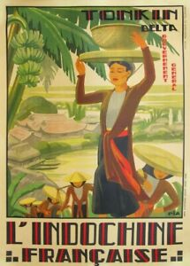 Vietnam for the Mekong Delta, 1930's, Classic Reproduction Vintage Travel Poster