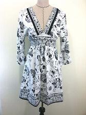 Speed central womens black white BOHO cotton black white vneck knee dress size L