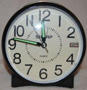 Sharp Alarm Clock Quartz Analog Black Battery Operated