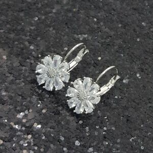 18K White Gold Filled Elegant Italian Diamond 18ct GF Daisy Drop Earrings 20mm