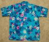 VTG 60's RICHARD DOUGLAS Honolulu Aloha Shirt-Men's M-Blue PInk Floral-Hawaiian