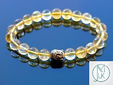 Buddha Citrine Natural Gemstone Bracelet 7-8'' Elasticated Healing Stone Chakra