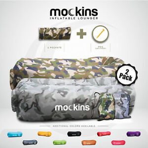 Mockins Inflatable 2 Pack Gray & Green Camo Blow Up Beach Lounger & Travel Bag