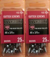 2 New sealed Everbilt #8 x 3/8 in. Brown Pan Head Gutter Screws 25 Packs