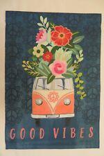 """Good Vibes"" Boho Peace Mini Bus, Van, Flowers, Bohemian decorative Garden flag"