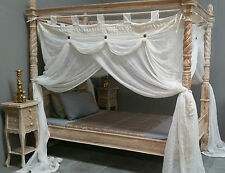 Four Poster Bed Canopy Deluxe Mosquito Net Cream King Single 105cm x 205cm