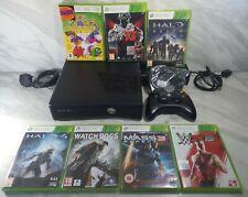 Microsoft Xbox 360 Slim 250GB Black Console +Controller +7 Games Halo MassEffect
