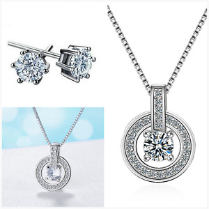 UK Cubic Zirconia Circle Sterling Silver Jewellery Set Gift Boxed