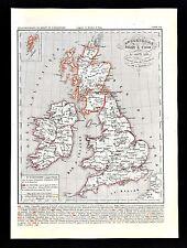 1849 Houze Map Great Britain 1281-1400 England Ireland Scotland London Edward