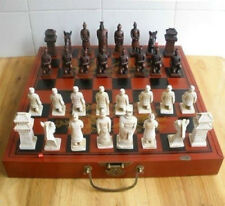 Chinese 32 pieces chess set with wood dragon box Xian Terracota Warrior