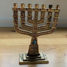 Hanukkahleuchter Menorah 7armig Messing Israel 1975
