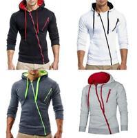 Men's Winter Warm Hoodie Hooded Slim Fit Sweatshirt Zipper Coat Jacket Outwear