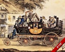 VINTAGE STEAM POWERED CAR CARRIAGE LONDON TO BATH PAINTING ART REAL CANVAS PRINT