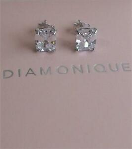 DIAMONIQUE ASSHER CUT CZ 3.5 CARAT STERLING SILVER STUD EARRINGS NEW BOXED QVC